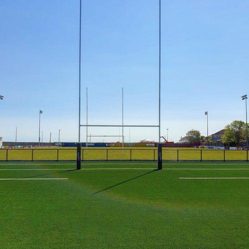 Professional Aluminium Rugby Goal – 13m High (Hinged)